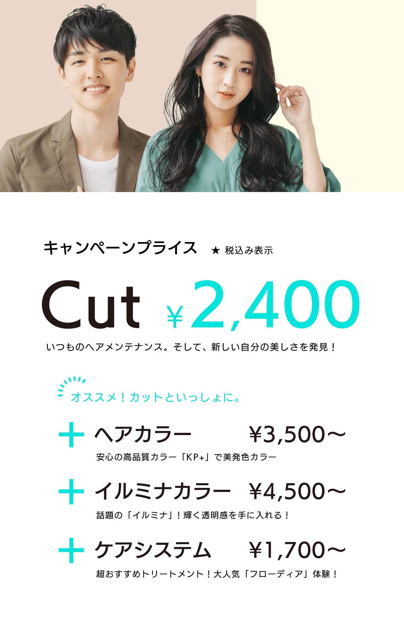 キャンペーンプライス カット2,400円 + ヘアカラー/イルミナカラー/ケアシステム